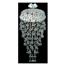 Elegant Lighting - Elegant Lighting 2006D20C(LED) Galaxy 9-Light LED, Single-Tier Crystal Chandelie - Elegant Lighting 2006D20C(LED) Galaxy 9-Light, Single-Tier Crystal Chandelier, Finished in Chrome with Clear CrystalsElegant Lighting 2006D20C(LED) Features: