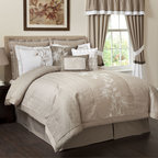 None - Juliana 4-Piece Comforter Set - Finish your bedding ensemble with this pretty four-piece comforter set. With an elegant embroidered center panel and a quilted design,the comforter nicely accents any decor. Two shams and a tailored bed skirt complete the cohesive look.