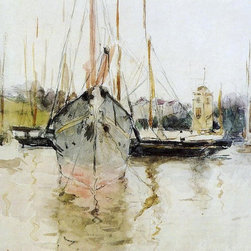 """Berthe Morisot Boats -  Entry to the Medina in the Isle of Wight (also known as - 16"""" x 16"""" Berthe Morisot Boats -  Entry to the Medina in the Isle of Wight (also known as pugad baboy) premium archival print reproduced to meet museum quality standards. Our museum quality archival prints are produced using high-precision print technology for a more accurate reproduction printed on high quality, heavyweight matte presentation paper with fade-resistant, archival inks. Our progressive business model allows us to offer works of art to you at the best wholesale pricing, significantly less than art gallery prices, affordable to all. This line of artwork is produced with extra white border space (if you choose to have it framed, for your framer to work with to frame properly or utilize a larger mat and/or frame).  We present a comprehensive collection of exceptional art reproductions byBerthe Morisot."""