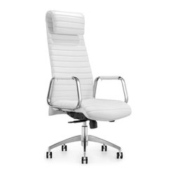 White Line Imports - Oxford Executive High Back Office Chair in White Leatherette - Features: