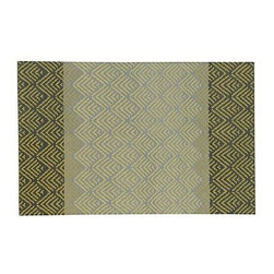 Sutton 5'x8' Rug - Traditional weaving and basket-making techniques lend a global feel to Genevieve Bennet's clean, contemporary interpretation. Flatweave rug features a Hand-drawn blocked design, flanking in darker grey to contrast with the softer grey of the central panel and calling attention to the intriguing tonal variations of the pattern repeats.