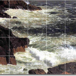 Picture-Tiles, LLC - Rough Surf Mount Desert Island Tile Mural By Frederic Church - * MURAL SIZE: 48x60 inch tile mural using (20) 12x12 ceramic tiles-satin finish.