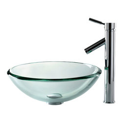 Kraus - Kraus C-GV-101-19mm-1002CH Clear 19mm thick Glass Vessel Sink and Sheven Faucet - Add a touch of elegance to your bathroom with a glass sink combo from Kraus
