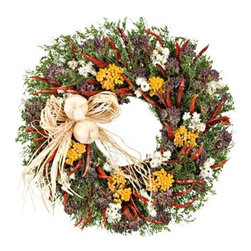 Some Like it Hot Kitchen Herb Wreath - This is another unique seasonal wreath with its hot peppers, oregano flowers and yarrow with a soft raffia bow.