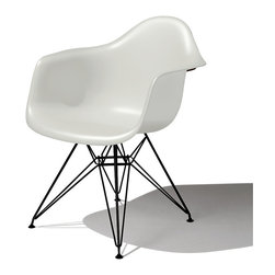 Herman Miller - Eames Molded Plastic Armchair, Eiffel Base - First introduced in 1948 by the design dream team of Charles and Ray Eames, this molded plastic chair is one of the most celebrated (and imitated) designs of the 20th century. The shell seat has a high flexible back and waterfall edges that allow you to sit pretty, even for extended lengths of time.
