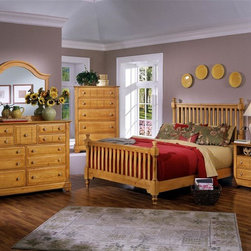 Vaughan Bassett - 5 Pc Slat Poster Bedroom Set in Pine Finish ( - Choose Bed Size: FullIncludes slat poster bed, commode, chest, triple dresser and landscape mirror. Pine finish. Assembly required. Commode:. 2 Drawers. 1 Open shelf. 28 in. W x 16 in. D x 29 in. H. Chest:. 5 Drawers. 38 in. W x 18 in. D x 54 in. H. Triple dresser:. 9 Drawers. 58 in. W x 18 in. D x 44 in. H. Landscape mirror: 42.5 in. L x 2 in. W x 38 in. H. Slat poster bed:. Full Size:. Includes slat poster headboard, slat poster footboard and wood rails with 3 1-inch slats. Slat poster headboard: 64 in. L x 3 in. W x 58 in. H. Slat poster footboard: 64 in. L x 3 in. W x 35 in. H. Wood rails: 76 in. L x 6 in. W x 1 in. H. Queen Size:. Includes slat poster headboard, slat poster footboard and wood rails with 3 1-inch slats. Slat poster headboard: 64 in. L x 3 in. W x 58 in. H. Slat poster footboard: 64 in. L x 3 in. W x 35 in. H. Wood rails: 82 in. L x 6 in. W x 1 in. H. Eastern King Size:. Includes slat poster headboard, slat poster footboard and wood rails with 6 1-inch slats. Slat poster headboard: 81 in. L x 3 in. W x 58 in. H. Slat poster footboard: 81 in. L x 3 in. W x 35 in. H. Wood rails: 82 in. L x 6 in. W x 1 in. H. California King Size:. Includes slat poster headboard, slat poster footboard and wood rails with 6 1-inch slats. Slat poster headboard: 81 in. L x 3 in. W x 58 in. H. Slat poster footboard: 81 in. L x 3 in. W x 35 in. H. Wood rails: 86 in. L x 6 in. W x 1 in. H