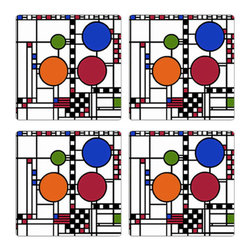 """CoasterStone - Frank Lloyd Wright Coonley Playhouse Sandstone Coasters Gift, Set of 4 Coasters - This Frank Lloyd Wright gift set of four coasters is inspired by his Coonley Playhouse art glass design of the window triptych from the Avery Coonley Playhouse, Riverside, Illinois, 1912. This Frank Lloyd Wright design is believed to have been inspired by a parade with colorful balloons, flags and confetti. The design is one of Wright's most important decorative achievements. Each Frank Lloyd Wright coaster is 4"""" square, made of original porous sandstone and is cork-backed to protect furniture and prevent scuffs."""