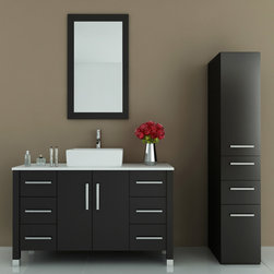 "47"" Grand Crater Single Bathroom Vanity - If you like sleek modern designs in your bathroom, then you will love this large bathroom vanity. Constructed in beautiful and sturdy oak, the vanity will last you a lifetime without warping or cracking. The countertop supports an eye-catching square ceramic vanity sink with the matching faucet of your choice, available in a number of unique styles. The vanity sports three sliding drawers on either side, and a primary storage cabinet directly beneath the sink to provide you with ample organizational space. All drawers feature a soft-close system that prevents damage to the vanity. This beautiful modern vanity rests on steel-capped legs that enhance its modern aesthetic, while complementing the matching steel drawer handles. To complete your modern bathroom design, try adding some matching vanity mirrors, available with lovely oak frames."