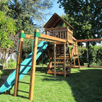 Refurbished Redwood Play Set - Wooden play sets are attractive and easy to add on to or reconfigure later. And they're perfect for backyards with matching sundecks and redwood fencing. We offer refurbished redwood playsets from many top manufacturers. Including Rainbow Play Systems , Play-Well, Backyard Adventures, CedarWorks, Kid's Creations, Creative Playthings, PlayNation, and many more.