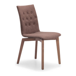ZUO MODERN - Orebro Chair Tobacco Fabric (set of 2) - The Orebro Chair has tufted and button accents on a retro textured fabric seat with walnut stained wood legs.