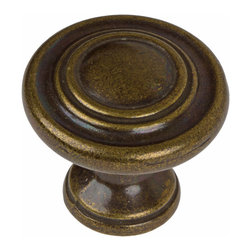 GlideRite - GlideRite 1.25-inch Antique Brass 3-Ring Round Cabinet Knobs (Pack of 10) - Dress up your cabinets by upgrading to these quality cabinet knobs by GlideRite Hardware. These knobs are a perfect addition or replacement for any kitchen or bathroom cabinet.