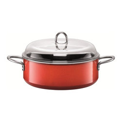 Silit - Passion Colors Stewpot w/Lid, Energy Red, 6.5 Qt. - -Extra-sturdy, drawn-in-one-piece steel core.