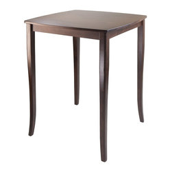 """Winsome Wood - Winsome Wood Inglewood Inglewood High Table, Curved Top X-33749 - Inglewood High Table features Curved Table Top with flare legs.  Sqare Table assembled size is 33.86""""W x 33.86""""W x 38.90""""H.  Constructed from Solid wood in Antique Walnut Finish.  Matching high chair/stool to complete the set.  Assembly Required."""
