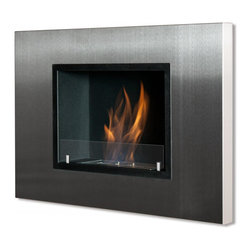 "Ignis Products - Quadra Recessed / Wall Mounted Ventless Ethanol Fireplace with Glass Barrier - Make the most use of the space you have with this Quadra Recessed Ventless Ethanol Fireplace that only protrudes 4.5 inches from your wall. This ethanol fireplace can be hung easily on any wall where you want to add a stylish look. It has a stainless steel frame with black powder-coated accents, and it is equipped with a 1.5-liter burner that throws out 6,000 BTUs of efficient, clean-burning heat without the mess and the fuss of a wood-burning fireplace. This unit installs easily without a chimney, and you don't need gas or electric lines to install it. It comes with a damper and hardware needed for installation. Dimensions: 30.75"" x 21.25"" x 4.5"". Features: Ventless - no chimney, no gas or electric lines required. Easy or no maintenance required. Easy Installation - Can be mounted directly on the wall or recessed (mounting brackets included). Capacity: 1.5 Liter. Approximate burn time - 5 hour per refill. Approximate BTU output - 6000. Includes Safety Glass Barrier and Brackets."