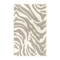 Surya - Mosaic MOS-1001 Wool Rug in Ivory and Gray with Animal Print Pattern - Choose size: 2 ft. x 3 ft.. Hand tufted. Animal style. Made in India. 100% New Zealand Wool and shapes
