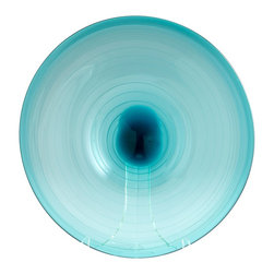 Cyan Design - Cyan Design Aqua Record Transitional Charger Plate - Large X-81160 - A crisp record shape and simple swirl pattern create a modern, updated flair to this Cyan Design charger plate. This transitional charger plate pairs its large size with vivid shades of aqua and clear glass, with a heavy blue accent at the center.