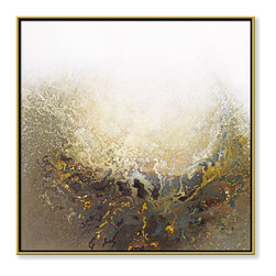 """CHC Art, Inc - Eclipse I, 30""""x30"""", Hand Embellished Giclee - Brushstrokes have been eliminated by pouring a viscous flow of paint resulting in fields of amorphous color.- Hand Embellished Giclee.- Gold floater frame with dark espresso edges.- Ready to hang.- Frame adds 1.75"""" to each dimension.- Made in the USA."""