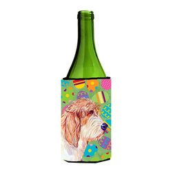 Caroline's Treasures - Petit Basset Griffon Vendeen Easter Eggtravaganza Wine Bottle Koozie Hugger - Petit Basset Griffon Vendeen Easter Eggtravaganza Wine Bottle Koozie Hugger Fits 750 ml. wine or other beverage bottles. Fits 24 oz. cans or pint bottles. Great collapsible koozie for large cans of beer, Energy Drinks or large Iced Tea beverages. Great to keep track of your beverage and add a bit of flair to a gathering. Wash the hugger in your washing machine. Design will not come off.