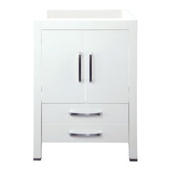 "DecoLav - DecoLav 5221-WHT White Cameron Cameron 24"" Wood Vanity Cabinet Only - Cameron 24"" Wood Vanity Cabinet Only with Lower Drawer This Cameron vanity cabinet from DecoLav features double front doors and a deep lower drawer to ensure that you have plenty of room for your bathroom necessities. The included soft closing door hinges and drawer slides allow for a smooth, secure close. The refined and stylish satin nickel hardware put this vanity cabinet a cut above the competition. Bringing you uncompromising customization, the DecoLav modular collections present you with maximum flexibility for your bathroom designs. Offering a huge number of vanity, countertop, and accessory combinations, you are sure to find something to fit your taste. The Cameron bathroom furniture collection is designed with the consumer in mind. The pieces are available in multiple finishes and sizes, and you can surely find a home for everything with the voluminous storage space found in every piece of this series. The strong, clean lines and pronounced edges of the Cameron Collection create a striking statement that is sure to win you over. Its bold presence with understated detailing provides the perfect compliment to your modern-contemporary bathroom design. This collection portrays a bold, rich appearance that will enhance your décor to its finest, setting you apart from your neighbors. Features:  Part of the Cameron modular bathroom furniture collection Solid wood legs and frame Soft closing door hinges and drawer slides Includes lower drawer Concealed storage cavity Satin nickel hardware Brushed stainless steel toe caps Available in birch veneer with Espresso or White finish Countertop and lavatory sold separately Also available in 30"" (model 5222) and 36"" (model 5223) widths Also see model numbers Cameron-68.5, Cameron-91.75, and Cameron-76 for preconfigured vanity set options Limited life"