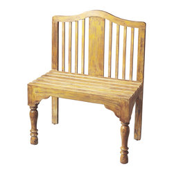 Butler Furniture - Roseland Yellow Solid Wood Bench - Reminiscent of a gardeners bench, this beautifully proportioned bench features a slatted back and seat with meticulously turned front legs. Crafted from solid wood it is hand-painted in a whimsical antique finish.