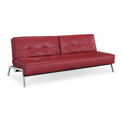 Lifestyle Solutions - Lifestyle Solutions Copenhagen Crimson Euro Lounger - he Marquee collection offers distinctive styles with unique features specially designed for the urban living space. Features sofa height seating, bonded leather covers, chrome legs, pocket coil springs, and high density foam cores . Upholstery grade fabrics cover the insides of a solid metal frame. Sofa styles, slider styles, Euro Lounger Styles, one of the largest European lines of convertibles on the market today.