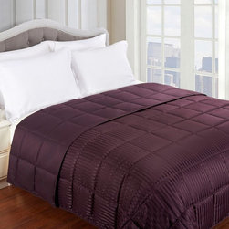 """Grand Down - Grand Down All Season Down Alternative Reversible Blanket - BLANKET TW BK - Shop for Blankets from Hayneedle.com! In every season for every sleeper the Grand Down All Season Down Alternative Reversible Blanket guarantees a cozy night. Crafted with a soft hypoallergenic microfiber cover and fill of the same make this just-right blanket is ideal for allergy sufferers who want the luxury of down without the sniffles. Plus it keeps you warm without weighing you down so you can feel free to leave this blanket on the bed year-round. Mix up the look each season: One side is solid and the other boasts tone-on-tone stripes. Choose from an array of colors and sizes - there s a combination for every interior. Machine wash. Dimensions Twin: 90L x 68W in. Full/Queen: 90L x 88W in. King: 108L x 90W in. About Home City Inc.Established in the 1980s in Queens New York selling towels and lower-thread-count sheets Home City Inc. started in small office and has developed into a worldwide manufacturing and importing company based out of Brooklyn NY. They were able to establish the name """"Home City Inc."""" in 2003 which set the tone for the growth in a company that boasts over 25 years of experience in production. Over the years Home City has developed and perfected unparalleled quality products that now serve domestic and international retail stores. Today Home City's fulfillment center is located in Linden NJ with a showroom on Fifth Avenue in New York NY allowing them to provide their customers with an expanded selection of sheet sets duvet cover sets bed skirts pillowcase sets bed-in-bag sets down comforters mattress toppers pillows quilts robes towel sets and more."""