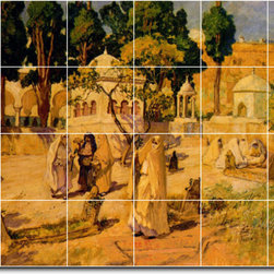 Picture-Tiles, LLC - Arab Women At The Town Wall Tile Mural By Frederick Bridgman - * MURAL SIZE: 32x48 inch tile mural using (24) 8x8 ceramic tiles-satin finish.