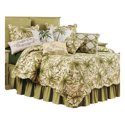 "C F Enterprises - Barbados Sand Queen Quilt - The Barbados Sand Queen Quilt is part of a collection by C F Enterprises. The quilt features a sandy cream background with lovely palms and tropical accents in green, tan and taupe. The quilt measures a generous 90"" x 92"" and features a scalloped edge."
