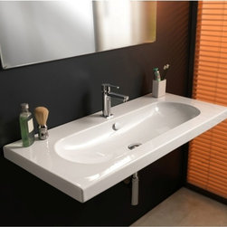 """Tecla - Elegant Wide Rectangular Wall Mounted, Vessel, or Built-In Sink - This elegant white ceramic bathroom sink is rectangular with an oval shaped basin. Sink can be used as a wall mounted, above counter vessel, or built-in sink. Designed and manufactured in Italy by Tecla. Overflow included with option for a single faucet hole (as shown), no hole, or 3 holes. Sink dimensions: 39.57"""" (width), 17.72"""" (depth)"""