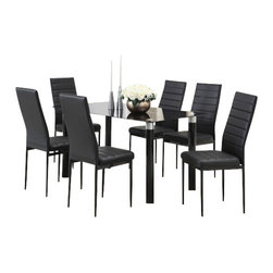 """Acme - 7-Piece Riggan Iv Collection Lined Back Style Dining Table Set - 7-Piece Riggan IV collection lined back style black leather like upholstered and Black glass top dinette set . This set features a Black glass top table with metal base and glass top , 6 - side chairs with a Black leather like upholstery. Table measures 32"""" x 55"""" . Chairs measure 39"""" H at the back. Some assembly required."""