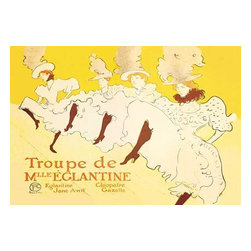 """Buyenlarge.com, Inc. - Troupe De Mille Eglantine - Paper Poster 12"""" x 18"""" - Henri de Toulouse-Lautrec (1864 - 1901) was a French painter, printmaker, draftsman, and illustrator. The period he created his art was known as the Belle poque and his focus was on the decadence in Parisian society. At the height of the cancan's popularity, dancers formed groups which offered their services as a unit. Whether the troupe of Mlle Eglantine was the best of them we don't know, but it is certainly the only one publicized by the best Toulouse-Lautrec did it at his request of his friend Jane Avril. From left to right, we see Jane Avril. Cleopatra, Eglantine and Gazelle. As with Moulin Rouge poster, he lets the white of the petticoats, punctuated by stockinged legs, do most of the talking, but he also offhandedly gives each girl a distinct character in only a fez limning their facial expressions."""" The poster was designed for the group's London appearance at the Palais Theatre. Jane Avril her friend to Henri (Lautrec) at the last minute to leave the name of the venue out of the design, hoping that it would be a success and travel to other theaters as well. Unfortunately, the Troupe was not well received and they went no further. But the cancan, which was usually performed at the time in a formation of four dancers, as shown here, continues to live in our imagination due to the lively, fresh and original composition of this poster"""