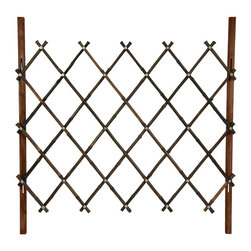 Oriental Furniture - 3 ft. Tall Diamond Bamboo Fence - Walnut - Portable bamboo fence or decorative gate. Criss-cross diamond design allows fence to quickly fold accordion-style for easy repositioning or storage during harsh weather. Lightweight but durable construction using kiln-dried wood posts and bamboo poles, all finished in a dark brown stain palette. Walnut stained bamboo poles have some natural color variation, as seen in picture.