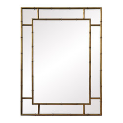 Gold Leaf Bamboo Edge Mirror - Whether using Asian, Tropical or Traditional d�cor the Gold Leaf Bamboo Edge Mirror is the perfect fashion piece to generate light and space in a room. The bamboo frame within a frame manages to create the look of a very decorative frame while maximizing the amount of mirror used resulting in a piece that will expand your space infinitely.