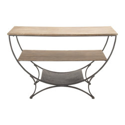 Charming and Enthralling Metal Wood Console Table - Description: