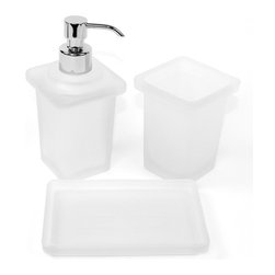 Gedy - White Frosted Glass Accessory Set - Contemporary white accessory set with included soap dispenser, toothbrush holder, and a soap dish.