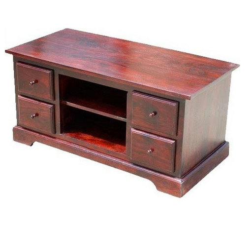 Sierra Living Concepts - Claret Wood TV Media Console with Drawers - Choose a look that never goes out of style with the Claret Wood Media Console with Drawers. This quality entertainment center is made of solid Indian Rosewood. The media unit has four deep drawers, two shelves of equipment and a large surface for a wide screen TV. The media cabinet features a rich cherry stain that highlights the intricate wood grain patterns.