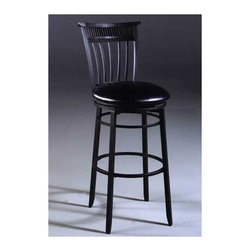"Hillsdale - Black Cottage Swivel Counter Stool - These swivel bar stools feature classic mission style lines, including vertical slats. They are a lovely addition to any kitchen, family room, dining room or den. The Cottage bar Stool in Black is made from steel and finished in rubbed black with distressed highlights. Features: -Black Seats are vinyl. -Suited for Residential Use Only. -Recommended care: Dust frequently using a clean, specifically treated dusting cloth that will attract and hold dust particles. Do not use wax or abrasive cleaners as they may damage the finish. Dimensions: -Seat height: 26"" H. -Overall: 39"" H x 18"" W x 20"" D, 35 lbs. About Hillsdale House Furniture Located in Louisville, KY, Hillsdale House Furniture has produced an enormously popular collection of bedroom and accent furniture. Hillsdale House items are constructed of quality materials and offered at an affordable price. We are an authorized dealer of the full line of Hillsdale House furniture; if you can't find a specific Hillsdale piece, give us a call!"