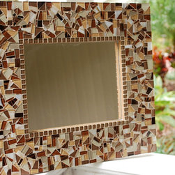 Mosaic Mirrors from Green Street Mosaics - This brown mosaic mirror from Green Street Mosaics is a stunning piece of wall art and would be a beautiful addition to your home decor. The different shades of brown, beige, copper, white, and gold mosaic tiles create a complimentary and appealing color palette. Depending on the light, the tiles shimmer and shine.