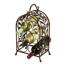 None - Olive Leaves Wrought Iron Wine Holder Rack - Organize your favorite wines in a fashionable way with this stylish wrought iron wine rack. The rack can hold up to five bottles of wine and features beautiful leaf embellishments that create an elegant look. It is ideal for use on a counter or table.