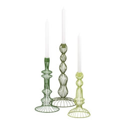 Topiary Candleholder Set - These bright green topiary candleholders are made of wire and shaped into a truly unique design — what a fun statement piece.