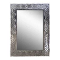 "Ren Wil - Ren Wil MT1343 Sesame 34"" Rectangle Aluminum Frame Wall Mounted Mirror - Features:"