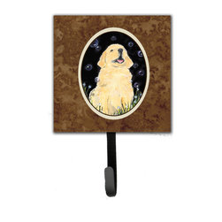 Caroline's Treasures - Golden Retriever Leash Holder Or Key Hook - The Single Hook Leash Holder measures 4.25 inches wide by 7 inches high. The tile is made from a hardhoard and is mounted to a metal rectangle. The hook hangs down from the metal plate in the back and is about 2 1/2 inches from the base. The hook opens about 1 inch. A hanger is attached to the metal plate and is about 1 1/2 inches long. Lots of room to hang up using a screw or paneling nail. Great for the home or office to hold keys, leashes or just about anything.