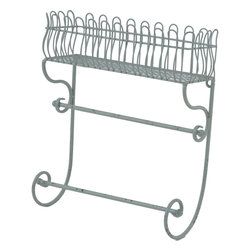 Enchante Accessories Inc - Distressed Metal Wall Shelf / Flower Box / Planter / Patio Container (Blue) - Wrought iron flower planter and flower box with ornate scrollwork Distressed detailing for an antique, vintage lookVersatile enough for indoor and outdoor useProvides a beautiful place to display fresh flowers or potted plants Measures 14.75 in. x 4.5 in. x 15.75 in.Versatile enough for indoor or outdoor use, this wire metal planter provides an elegant place to hold flower pots and plants.  The Distressed Metal Flower Box / Planter / Patio Container is crafted from durable wrought iron and features a European inspired design with ornate French scrollwork across the top and a curved metal grid that mimics the construction and shape of old fashioned garden trellises.  Slender metal iron grids serve as the backdrop against the sturdy iron frame while the scrolled top adds a decorative touch and enhances the look of any room, garden, or patio.  A slim, rectangular flower box along the bottom offers the versatility to use this planter as a flower box outside a window or a patio container on your front porch or stairs.  With distressed edges that give it an elegant antique look, this metal flower box can be filled directly with dirt and flowers, used to grow a small fresh herb garden right outside your kitchen window, hold small potted plants, or show off fresh flowers that youメve proudly grown in your own garden.  Fill the planter high on a garden wall and let vines and flowers cascade over the edges to create an overflowing floral effect.  The neutral black finish is the perfect background on which to display any choice or fresh greenery or colorful blossoms.   This flower box can also be used indoors and can be incorporated easily into a kitchen or bathroom design.  In the kitchen, this planter can be used to hold recipe boxes or small containers, mason jars filled with tea, canisters filled with fresh coffee beans, or decorative bottles and jars of your favorite spices.  In a bathroom, this container can be used to hold guest linens, rolled hand towels, hand soaps, or apothecary jars filled with cotton balls or other paper products.  When this planter is placed on the wall, the scrolled detailing at the top adds a graphic element to any room design.