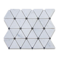 Stone Center Corp - Carrara Marble Triangle Mosaic Tile Black Dots 2 3/4 inch Honed - Premium Grade Triangle White Carrara Marble Mosaic tiles. Italian Bianco Carrera White Venato Carrara Honed 2 3/4 inch Triangle Mosaic w/ Black Round Dots Wall & Floor Tiles are perfect for any interior/exterior projects. The Carrara White Marble Triangle Mosaic tiles with Black Dots can be used for a kitchen backsplash, bathroom flooring, shower surround, countertop, dining room, entryway, corridor, balcony, spa, pool, fountain, etc.
