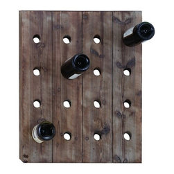 Benzara - Handmade Hangable Wine Rack with 16 Slots - Handmade Hangable Wine Rack with 16 Slots. Add a unique rack of wine to your decor that fits perfectly with any style. A hangable wine rack, built with to hold 16 bottles of wine simultaneously in planks of solid wood.