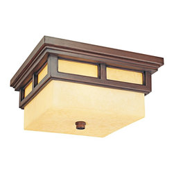 "Troy - Country - Cottage Cottage Grove 13"" Wide Indoor - Outdoor Ceiling Light - The Cottage Grove collection from Troy Lighting offers refined appealing style that's a great match for many homes. The frame comes in a beautiful cottage bronze finish. Clear seeded glass panes combine with an amber scavo glass inner cylinder to create a beautiful glow. A warm inviting look for inside spaces or use as an outdoor ceiling light. Cottage bronze finish. Clear seeded/amber scavo glass. Takes two 60 watt bulbs (not included). 6 1/4"" high. 13"" wide.  Cottage bronze finish.  Clear seeded/amber scavo glass.  Use indoors or as an outdoor ceiling light.  From the Cottage Grove lighting collection.  Design by Troy Lighting.  Takes two 60 watt bulbs (not included).  Damp location rated only.  6 1/4"" high.  13"" wide."