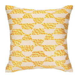 """Trina Turk Ventura Embroidered Pillow, Yellow - This highly-crafted embroidered throw pillow features elegant colors and patterns and is sewn on sophisticated natural linen. The perfect accent for your bedroom, living room, or any room that needs a little flair! It measures 20"""" X 20""""."""
