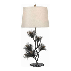 Kenroy - Kenroy 32165ABR Balsam Table Lamp - A charming sprig of evergreen and precious pine cones bring the Balsam lamp to life.  This graceful sapling has a soft natural texture to the needles and an elegant organic theme that's always in season.
