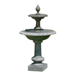 Campania - Williamsburg Pineapple Two-Tier Garden Water Fountain, Brown Stone - Tiered fountains are perfect for any garden setting. The Williamsburg Pineapple Two-Tier Fountain adds the final touch to any outdoor setting. Shown in Alpine Stone finish but it is available in a variety of different finishes choices. This is a made to order fountain allowing you to customize it to your liking. Add the Williamsburg Pineapple Two-Tier Fountain to your garden as your focal point!