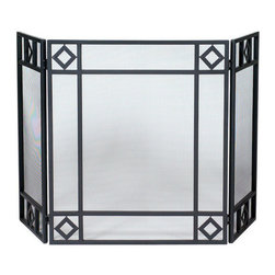 Uniflame - Uniflame S-1194 3 Fold Black Wrought Iron Screen w/ Diamond Design - 3 Fold Black Wrought Iron Screen w/ Diamond Design belongs to Fireplace Accessories Collection by Uniflame